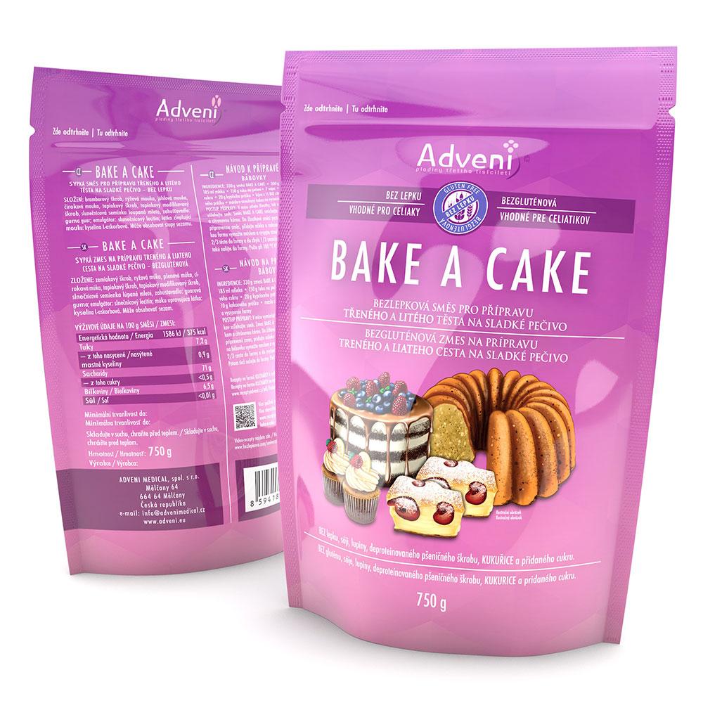Bezlepková směs pro přípravu třeného a litého těsta na sladké pečivo BAKE A CAKE 750 g
