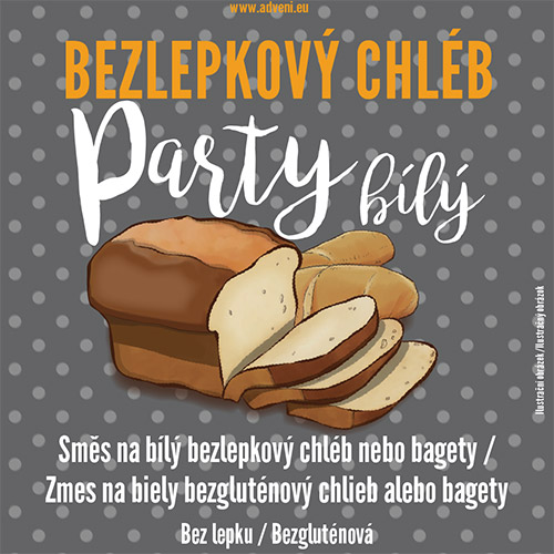 Bezlepkový chléb PARTY bílý nebo bagety