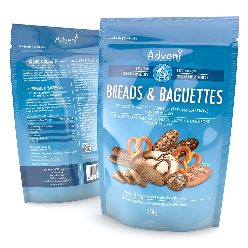 Bezgluténová zmes na chlebové a tmavé pečivo BREADS & BAGUETTES (predtým Simply Adveni) 750 g
