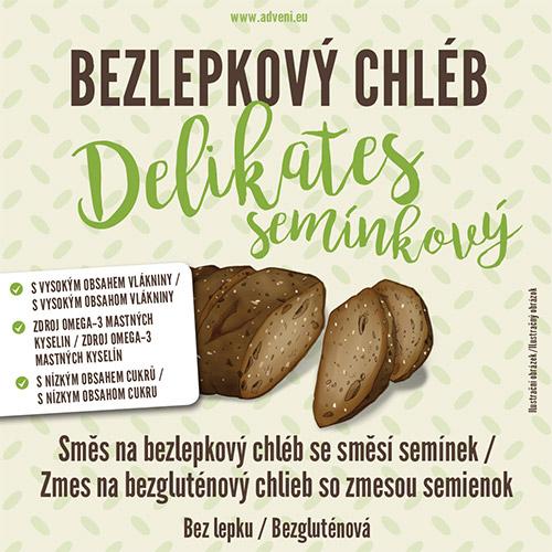 Bezlepkový chléb DELIKATES se směsí semínek